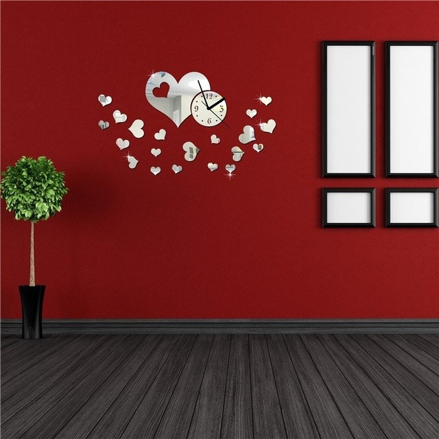 8ee541c98 NEW ART DIY acrílico coração e redondo espelho relógio de parede adesivo