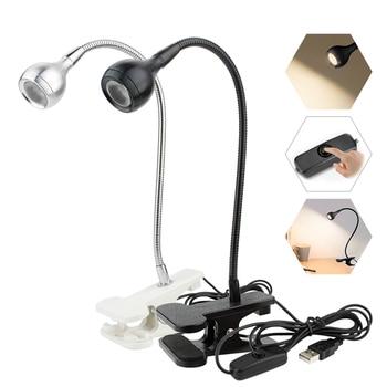 USB источник питания Настольная лампа с зажимом держатель перезаряжаемая USB Светодиодная настольная лампа Гибкая Складная защита глаз чтение книг
