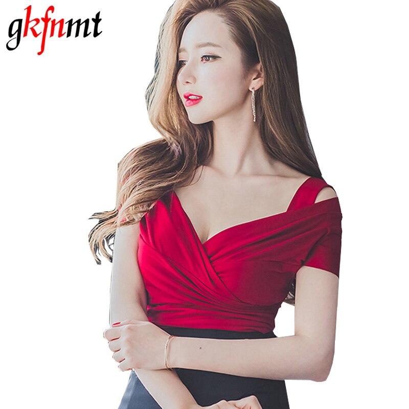Gkfnmt 2018 Sexy Short T shirts Cross Off Shoulder V neck Short Sleeve Crop tops Tshirt female T-shirt harajuku Tee Femme XL