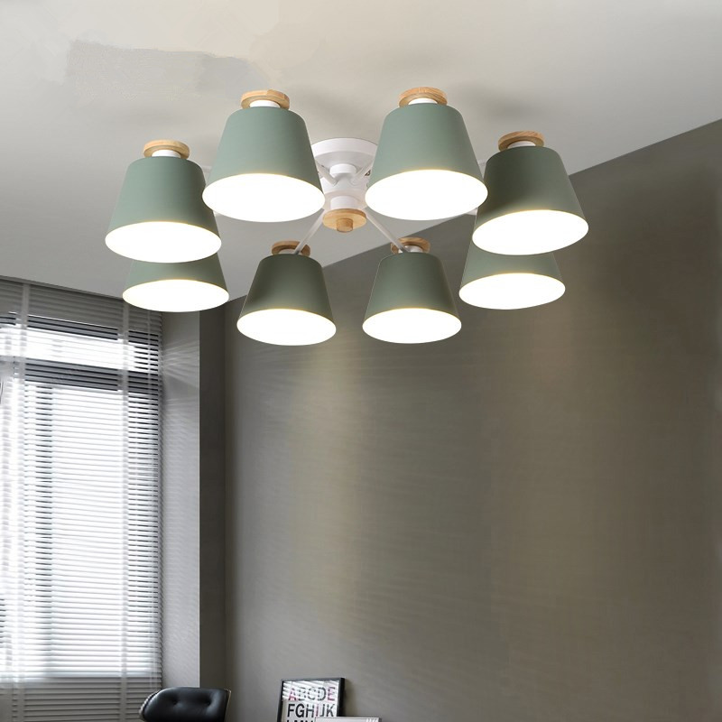 Living Room Chandeliers suction top Lighting grey green blue yellow pink body Wooden Hanging Light Lampshade Kitchen Lights