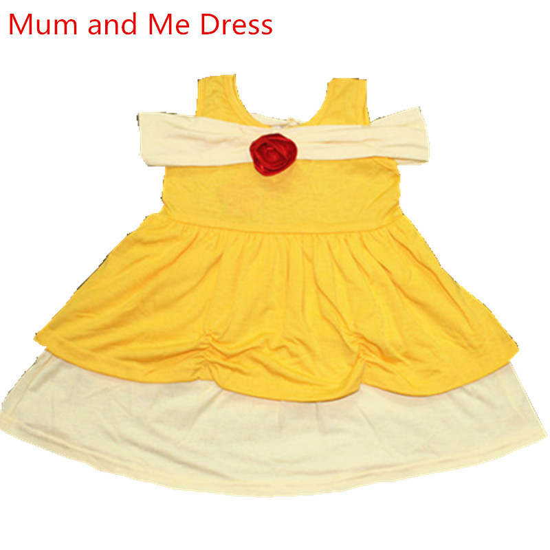 Halloween Mum And Me Dress Family Matching Princess Cosply Dresses Belle Mermaid Minnie Mickey Snow White Party Summer Dress Matching Family Outfits