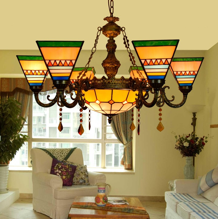 Mediterranean Tiffany Baroque Stained Glass Suspended Luminaire E27 110-240V Chain Pendant lights for Home Parlor Dining Room