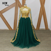 High Quality Green Tulle Long Evening Dress Gold Beaded Lace A Line Cloak Arabic Evening Dresses