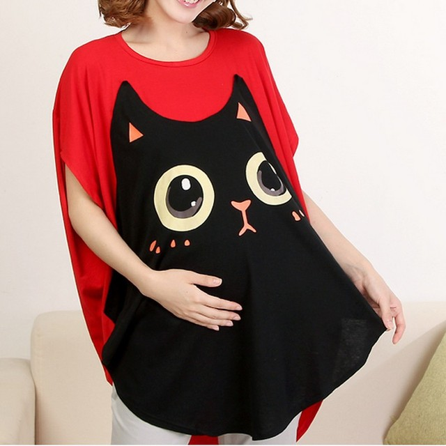 Funny Maternity Shirts Fashion Pregnant Women T Shirts Cute Cat 100% Cotton Tops Camisa Gravida Clothes Pregnancy Clothes