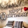 16 inch 13 шт./лот С Днем Рождения буквы алфавита воздушные шары многоцветный фольгированных шаров партия воздушных шаров globos 1-й день рождения партийной decaoration