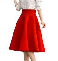Grossa cintura alta meados comprimento círculo saias para mulheres grandes saias de inverno tamanho completo preto vermelho ladies flared tea comprimento saias