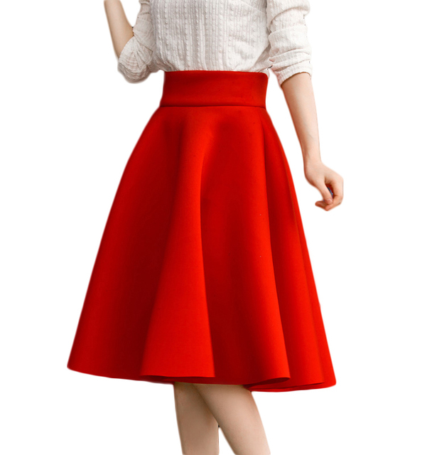 622ce4c77c Thick high waisted mid length circle skirts for womens large size winter  black full skirts red ladies flared tea length skirts