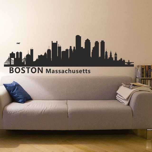 Boston Massachusetts City Skyline Silhouette Wall Decal Skyline Decor Removabel Wall Art 43cm x147cm & Boston Massachusetts City Skyline Silhouette Wall Decal Skyline ...