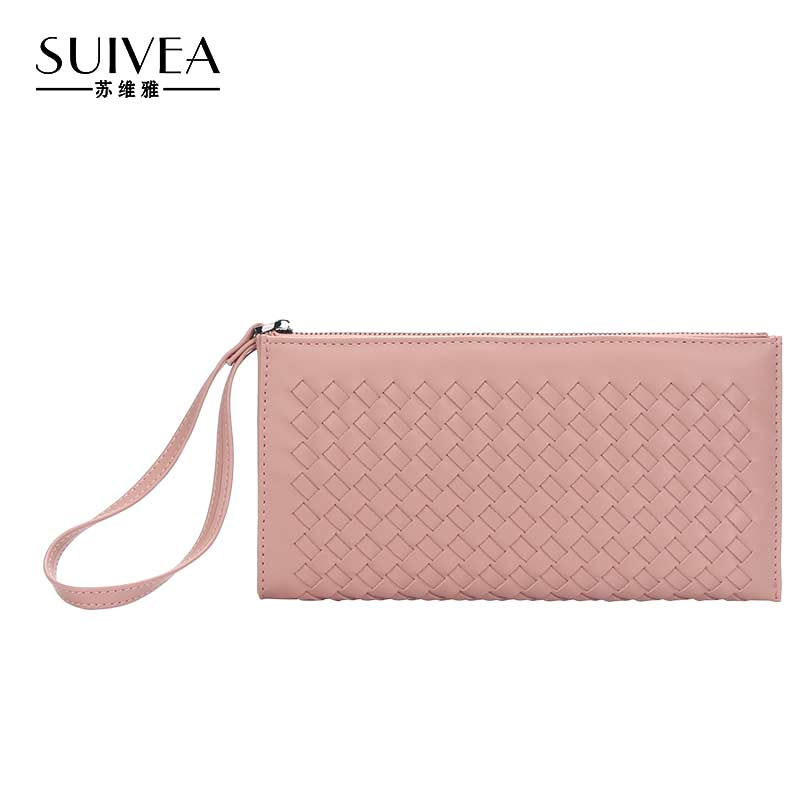 SUIVEA Brand Wallets Weaved Purse 2017 PU leather Long Style For Female Guarantee 100% High Quality Women Handbags With Zipper