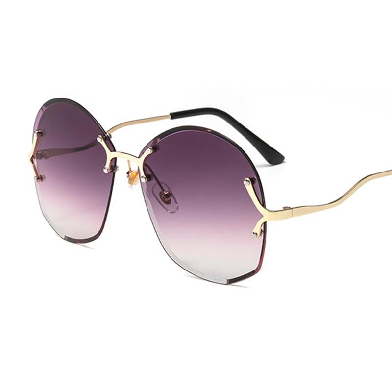 2019 Trendy Rimless Sunglasses Round Oculos Feminino Retro