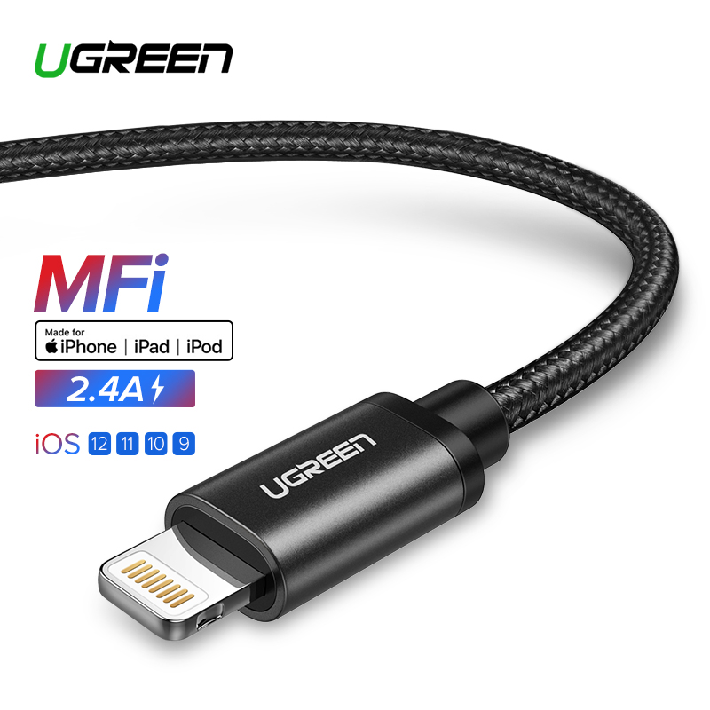 Ugreen MFi Usb-kabel voor iPhone Xs Max 7 Plus 2.4A Snelle Opladen Lightning Kabel voor iPhone 6 USB Data kabel Telefoon Oplader Kabel
