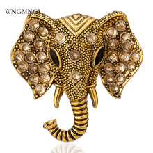 WNGMNGL 2018 New Arrival Vintage Gold & Sliver Elephant Crystal Inlay Buckle Brooches For Women Men Fashion Jewelry Gift