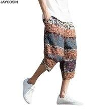 KLV мужские брюки, летние, широкие, однобортные, шаровары, хлопок, лен, широкие, свободные, укороченные брюки, мешковатые, горячая Распродажа, высокое качество, 9501