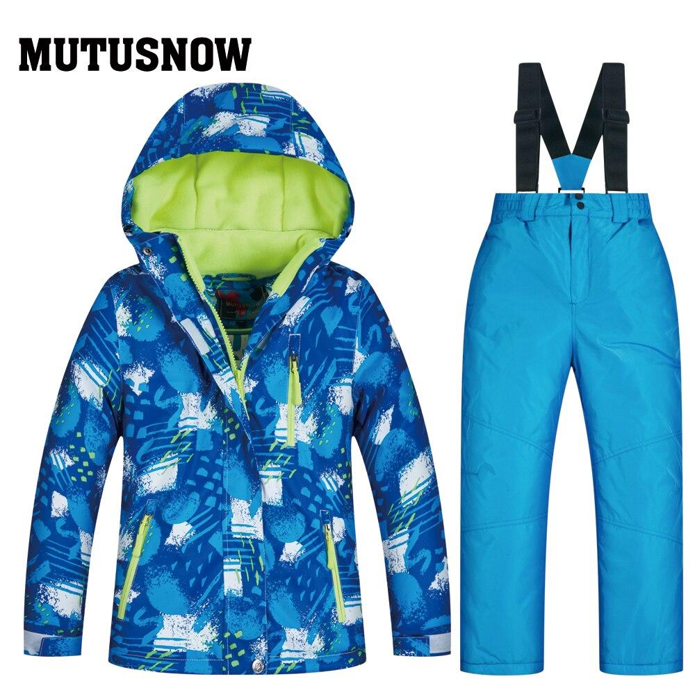 Nouveau Costume de neige pour enfants garçon ou fille ensembles de snowboard imperméable à l'eau en plein air tenue de sport manteau de Ski et sangle pantalon de neige Costume pour enfants