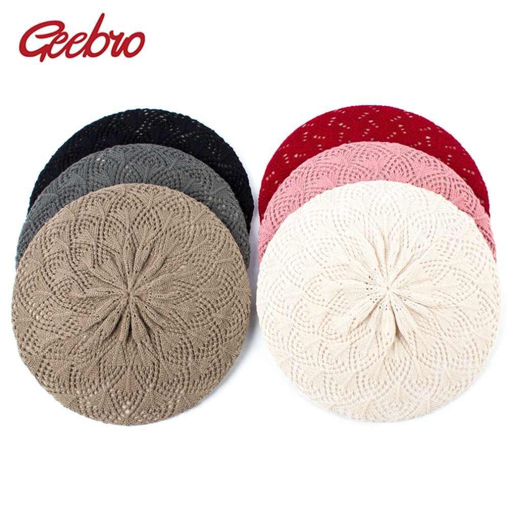 Geebro Для женщин Однотонные вязаная шляпа Берет Весна Повседневное тонкий акриловый береты для Для женщин женские французского художника Beanie BERET Шапки