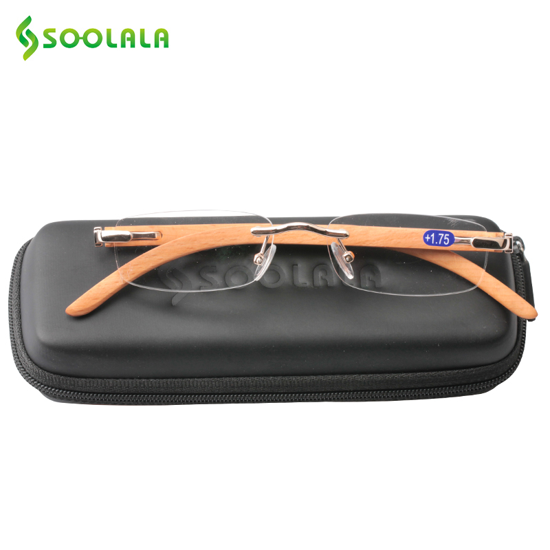 SOOLALA Wood Bamboo Rimless Reading Glasses Women Men Diopters Magnifying Presbyopic Reading Glasses +1.0 1.5 2.0 2.5 3.0 3.5