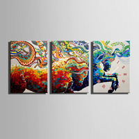 Free Shipping E HOME Galloping Colored Horses Clock in Canvas 3pcs wall clock