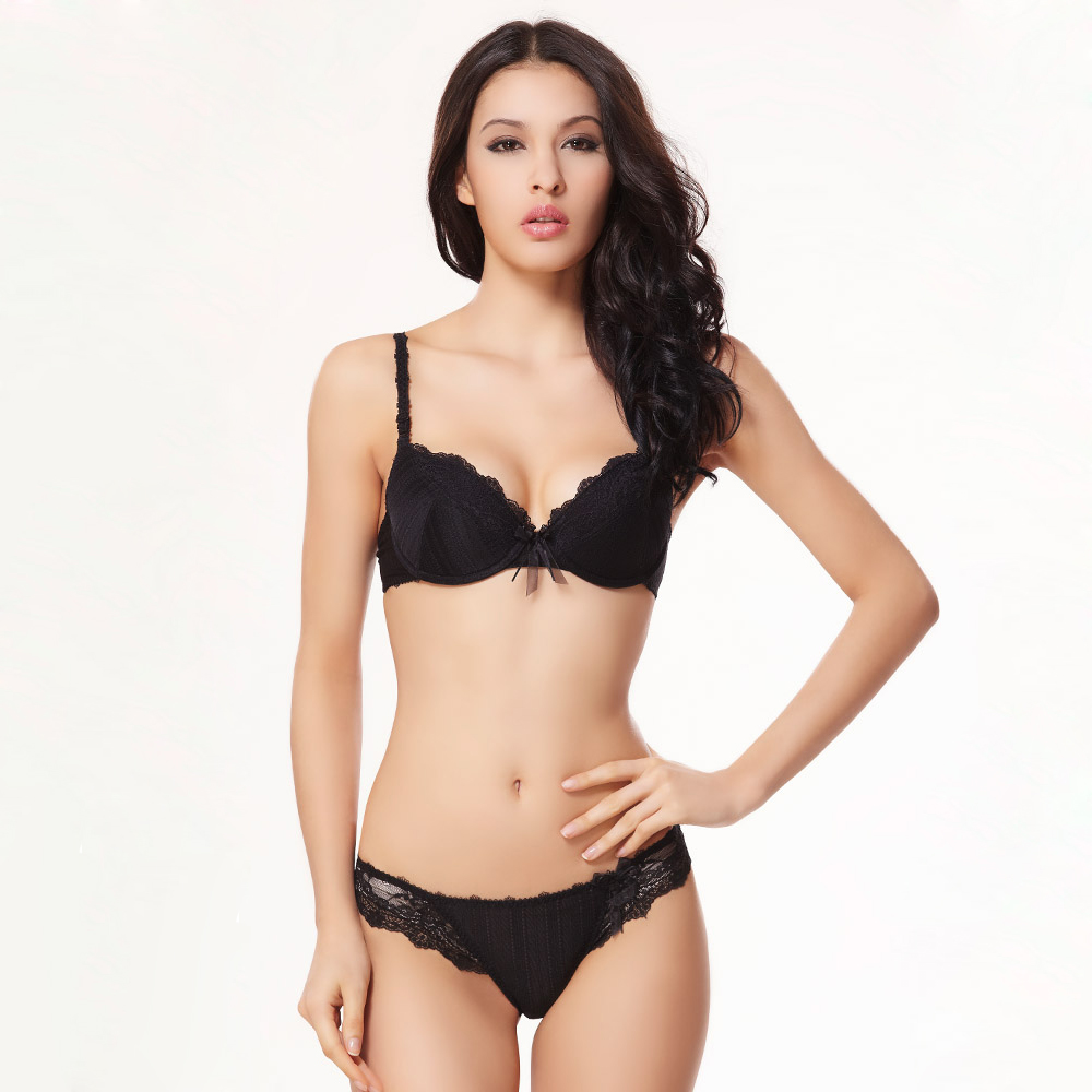e38c1d3cba 2018 Brand Sexy Deep V-neck Full Lace Floral Princess Underwear Bra Set Vs  Push Up Bra With Thong Set