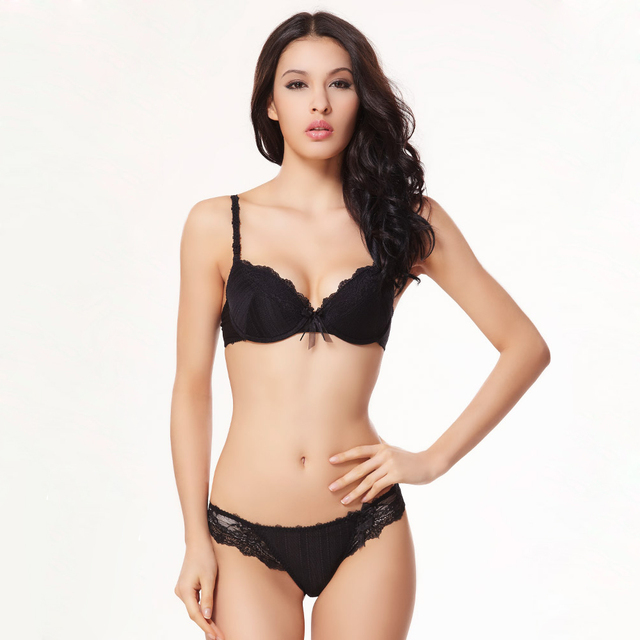 a5ad20510d6d4 Black Lace Underwear Women Bra Set Padded Massage Push Up Bras French Brand Acousma  Sexy Lingerie Sets Girls Intimates Thong VS