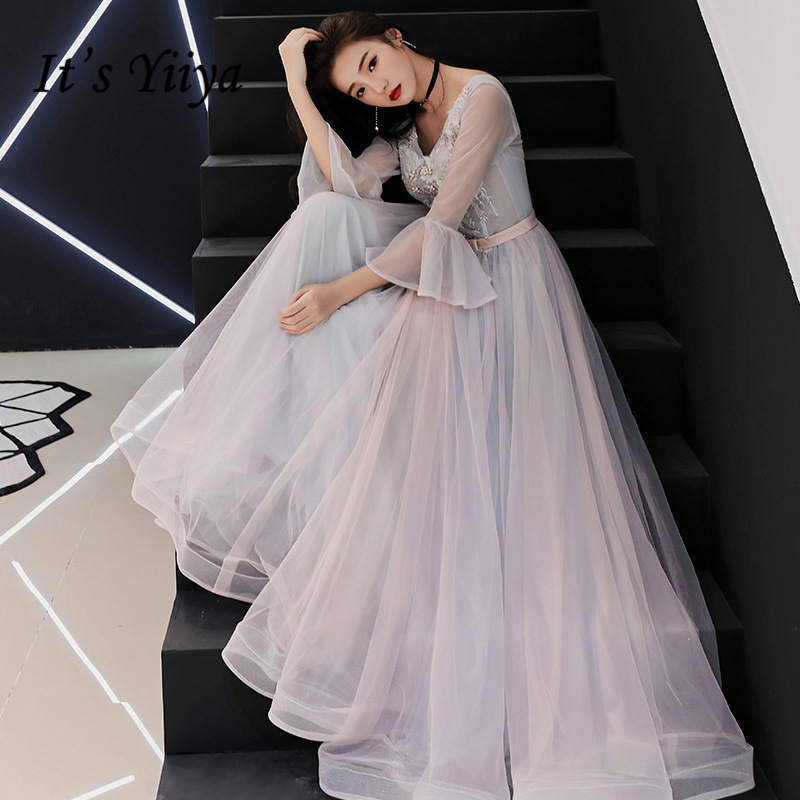 It's YiiYa Evening Dress Embroidery Flowers Beading Wedding Formal Dresses Flare Sleeve Crystal Lace Up V-neck Party Gown E352