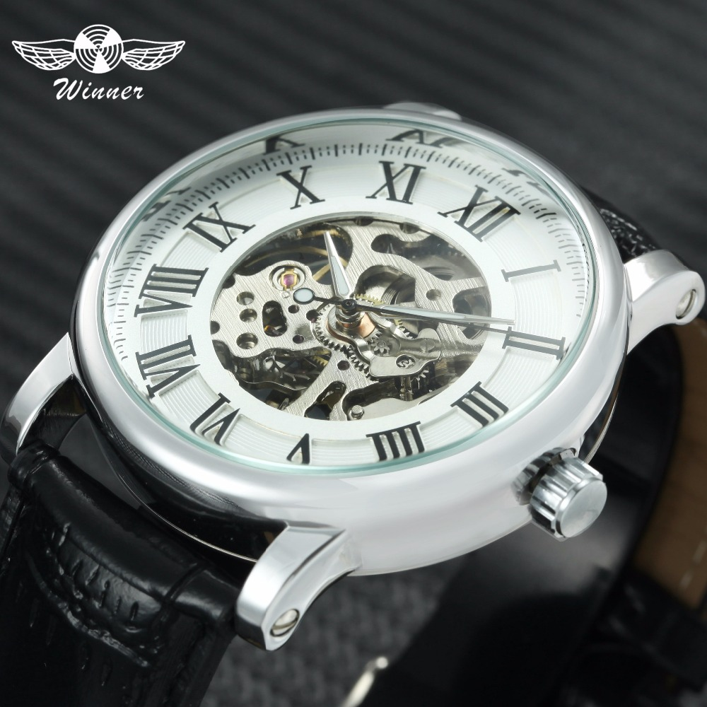 WINNER Brand Luxury Women Mechanical Watch Fashion Skeleton Dial Leather Strap Roman Numerals Ladies Watch Best Gift for Female winner men posh mechanical wrist watch leather strap tourbillion sub dial roman number crystal skeleton dial montre homme box