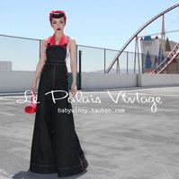 Бесплатная доставка Le Palais Винтаж PIN UP Ретро Классический самосовершенствование широкие брюки джинсы Высокое качество Комбинезоны/Комбинез