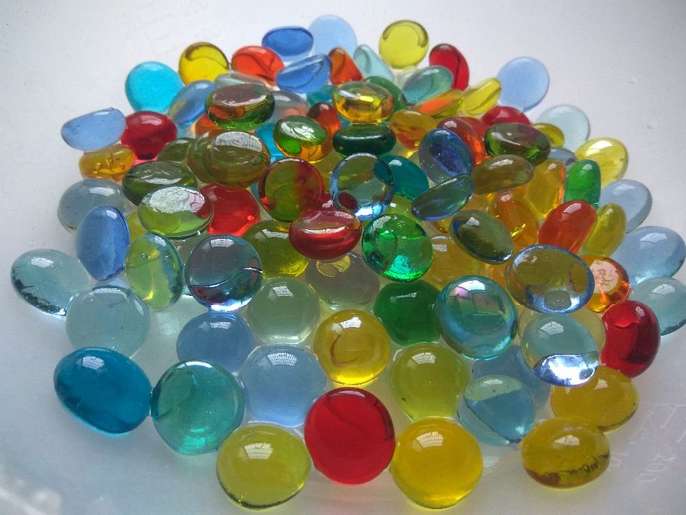 New Style beautiful landscaping stone glass goldfish bowl flat beads multicolour fish tank flowerpot decoration