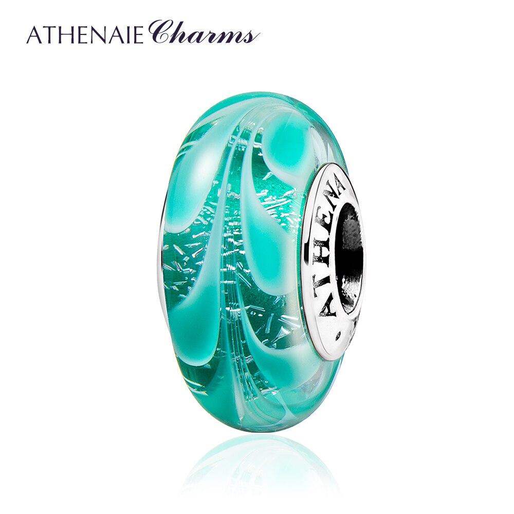 все цены на ATHENAIE Murano Glass Beads 925 Sterling Silver Hawaiian Charms Leaf Bead for Bracelet & Bangle Color Green онлайн