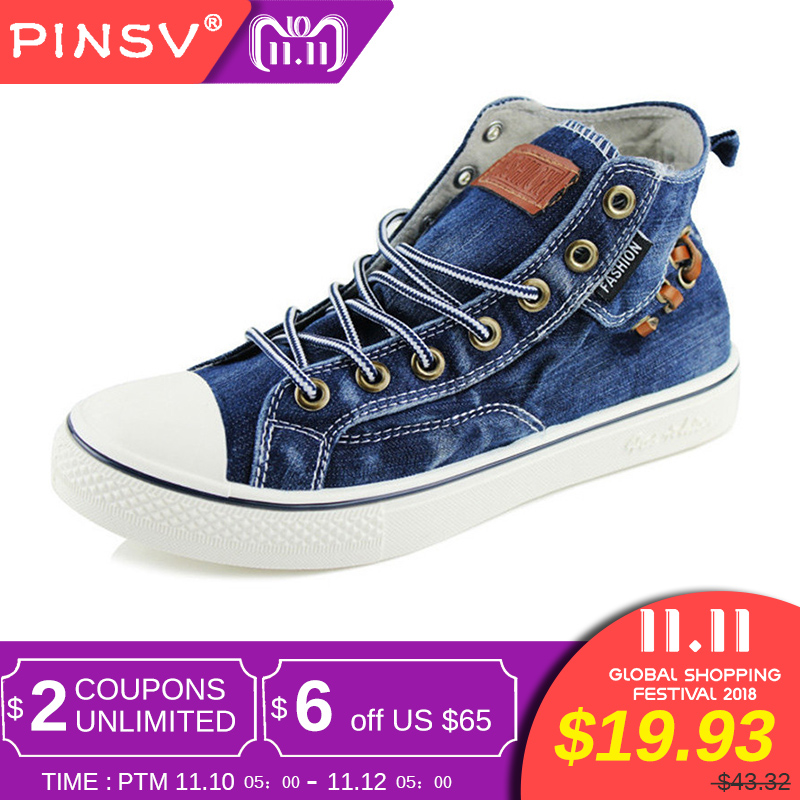 Sneakers Men Casual Shoes Denim Canvas Shoes Men Sneakers High Top Black Men Shoes Flats Zapatos Mujer Chaussure Homme 2017 women classic all lace up canvas shoes female casual shoes flats espadrilles zapatos mujer chaussure homme star shoe