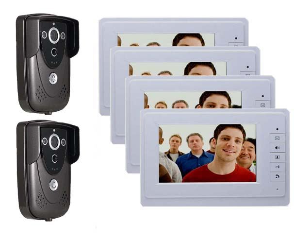 Best Price 7 Colorful Video Door Phone Doorbell Intercom Kit IR Night Vision Camera Monitor for Home Security 2cameras+4monitor