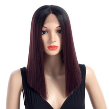 Aigemei Synthetic Straight Wigs Ombre Color Middle Part Lace Front Wigs For Woman Kanekalon Heat Resistant Hair 16 Inch(China)