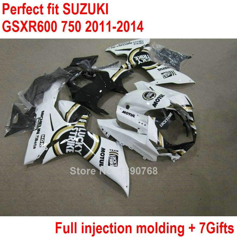 ABS plastic fairings for Suzuki GSXR 600 750  11 12 13 14 white black injection fairing kit 2011 2012 2013 2014 GSXR600 GSXR750