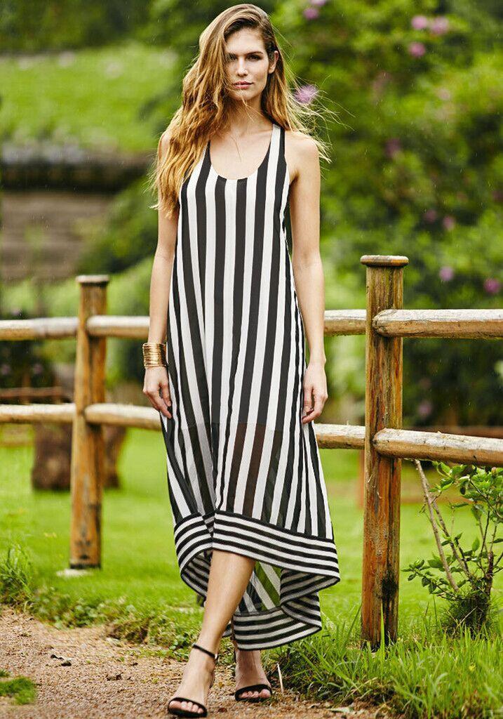 cc29f4d2638 2015 Summer Women Beach Party Dress Long Chiffon Maxi Dress Halter Backless Vertical  Striped High Low Irregular Plus Size Dress