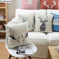 Nordic Style Decorative Throw Pillows Case Pink Deer Geometric Cushion Cover Home Decor Blue Chair Couch