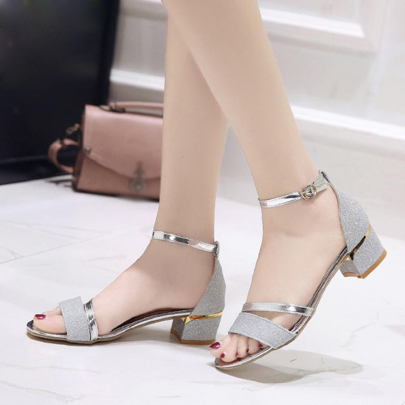 mokingtop summer sandals for women Fashion Women Sequins Sandals Ankle Mid Heel Block Party Open Toe Shoes ##-in Middle Heels from Shoes on Aliexpress.com | Alibaba Group
