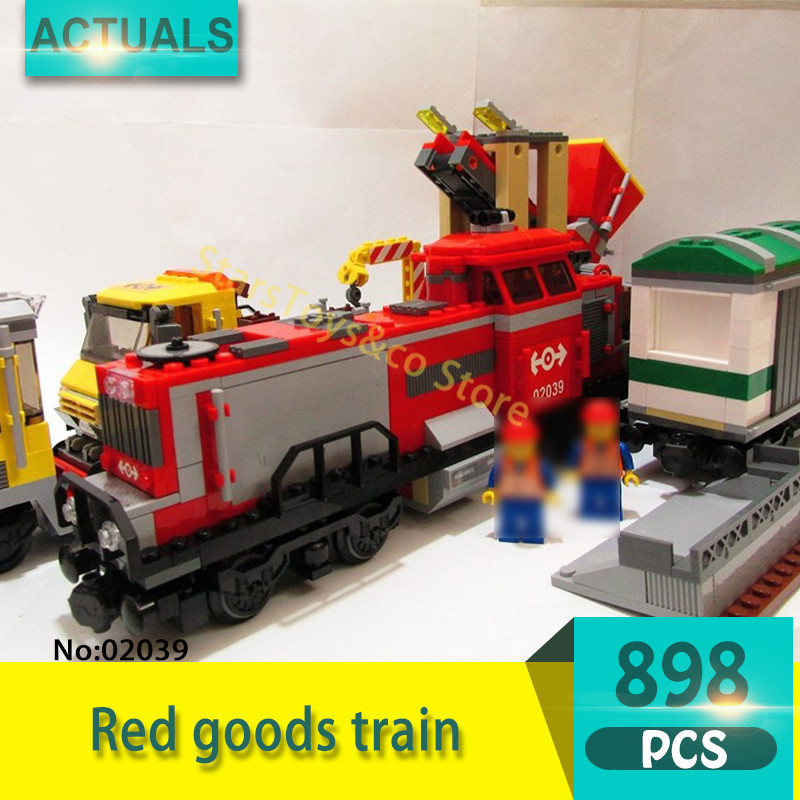 02039 898Pcs City series Red goods train Model Building Blocks Set  Bricks toys For Children Gift 3677 Education sermoido 02012 774pcs city series deep sea exploration vessel children educational building blocks bricks toys model gift 60095