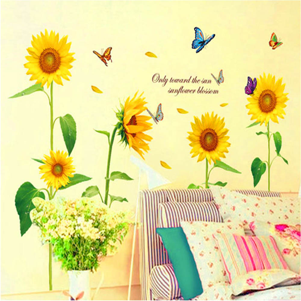 Sunshine Sunflower Butterfly Wall Stickers Decoration Summer ...