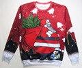 Santa Bringing the Trees Crewneck Sweatshirt penguin helper 3d Merry Christmas Sweat Women Men Jumper Outfits Tops Hoodies