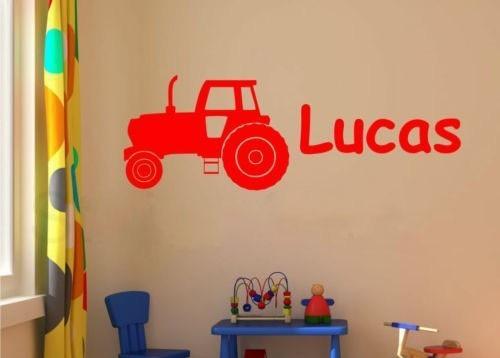 Cp tractor muurtattoo set jongens naam en initial decal