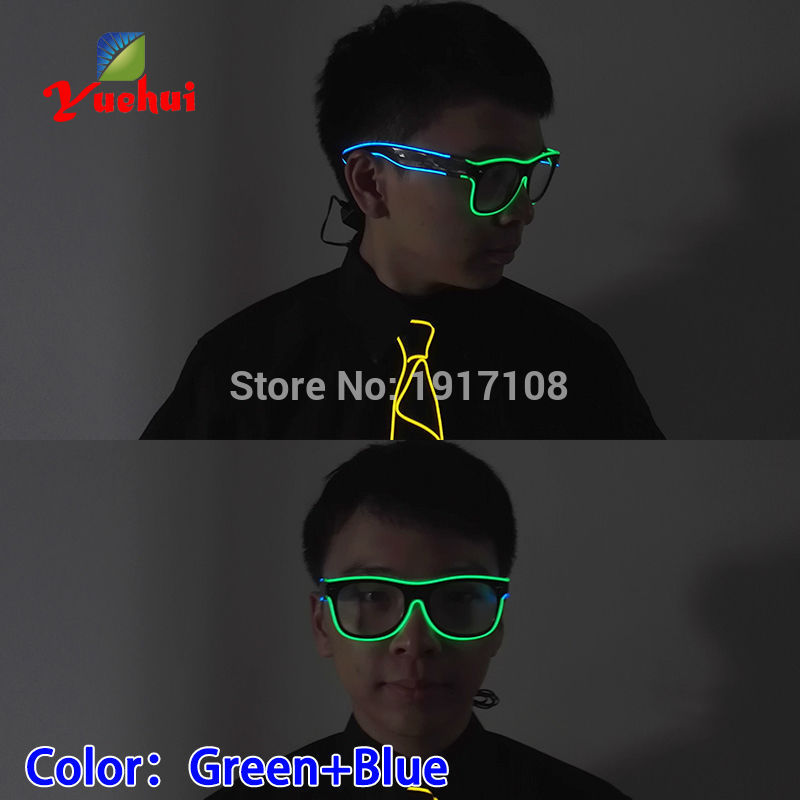 2017 Hot 5 Popular 5 style Sound Activated Double color Glasses Powered By DC-3V EL Wire Cold Light Tube Crazy Party Decoration
