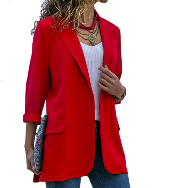 f8ade99fe84 Slim Blazers Women Autumn Suit Jacket Female Work Office Lady Suit Open  Front Lightweight Casual Women