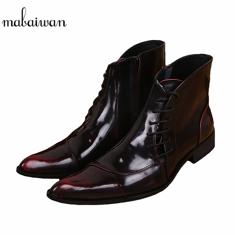 цена на Mabaiwan Fashion Wine Red Side Zipper Men Ankle Boots Genuine Leather Lace Up Shoes Mens Pointed Toe Cowboy Military Boots