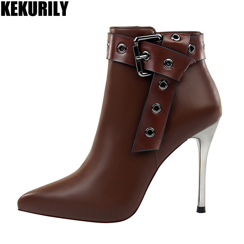 KEKURILY Sexy Women Ankle Boots Zip High Heels Shoes Stiletto Genuine Leather Ladies winter Boots Metal Buckle Women Pumps brown
