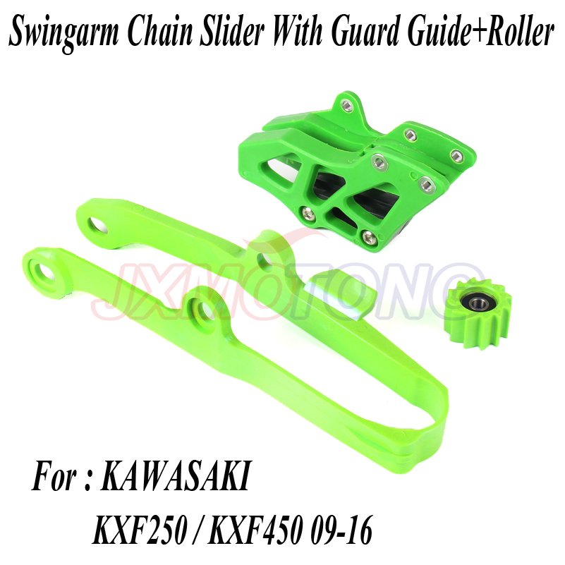 Green Chain Guide Guard Swingarm Chain Slide Slider Roller Tensione Guide Cover Kit For Kawasaki KX250F