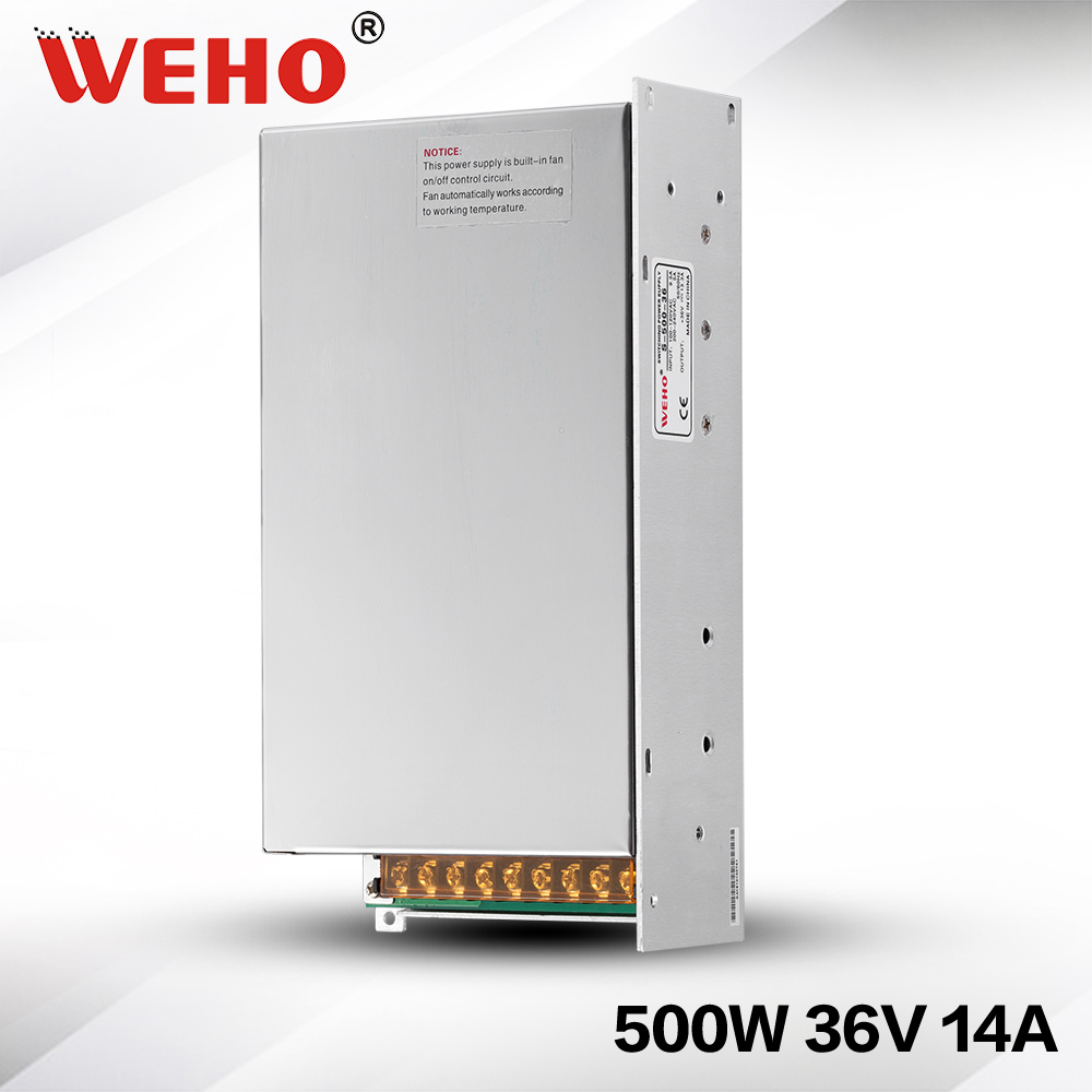 (S-500-36) Factory outlet 36V 14A  220v ac input 36v dc output 500w switching power supply 36v power supply 500W