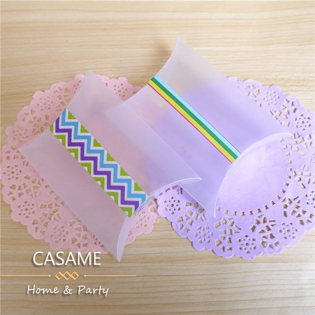 2500 cái/lốc New Style Nhựa Gối Shape Wedding Favor Hộp Quà Tặng túi Đảng Matte Frosted PVC chất liệu Kẹo Box Sỉ Và Lẻ