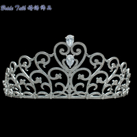 Luxury Heart Love Bridal Tiara Micro Pave AAA CZ Crown Wedding Veil Tiara Headband Hair Accessory Pageant Headpiece TR15119