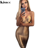 Sexy Hollow Out Off Shoulder Strapless Bodycon Satin Gold Dress Backless Hidden Zipper Split Knee Length