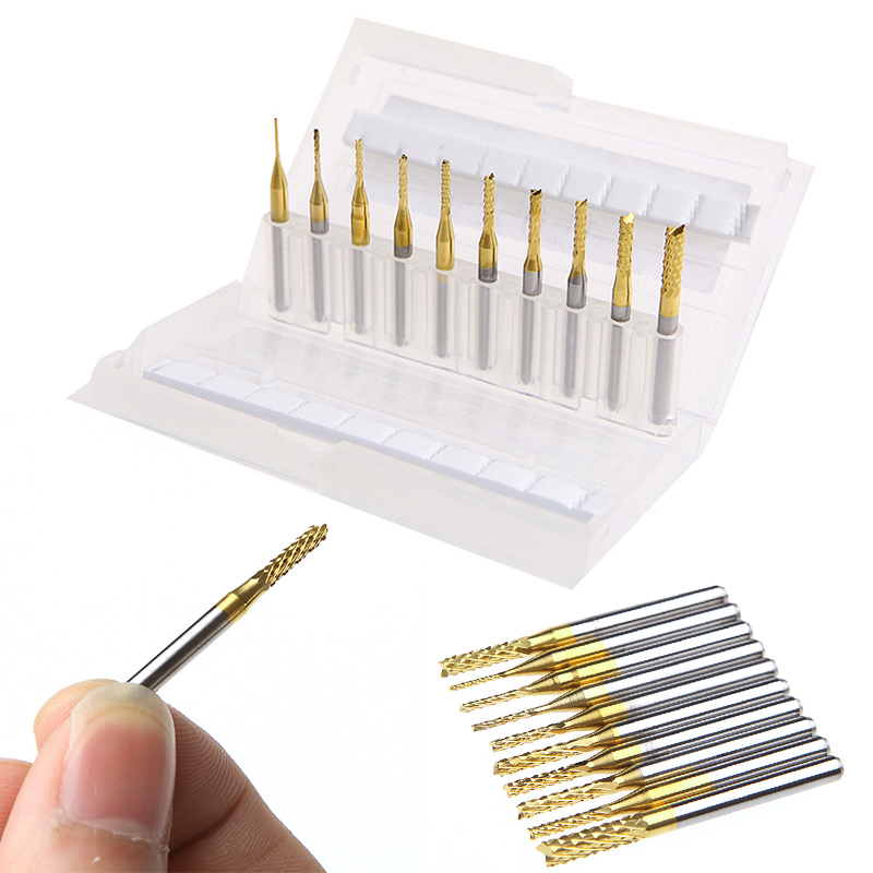 10pcs 0.8-3.175mm PCB Drill Bits High Hardness End Mill Tool Set For CNC Milling Engraving Cutter