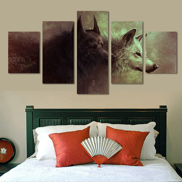 5 panels animal black and white wolf picture canvas prints painting wall art 5 pieces picture